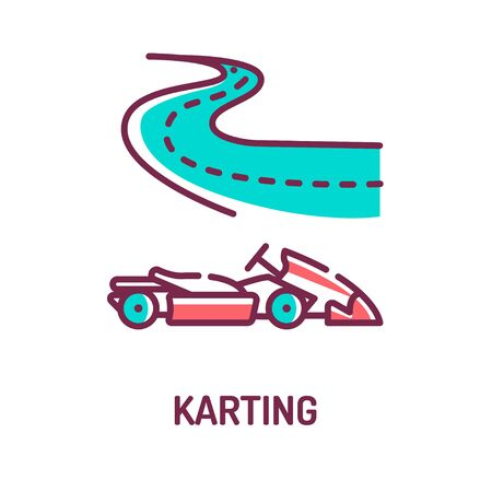 Karting color line icon on white background. Extreme sport. Racing on the track in a simple racing car. Pictogram for web page, mobile app, promo. UI UX GUI design element. Editable stroke.