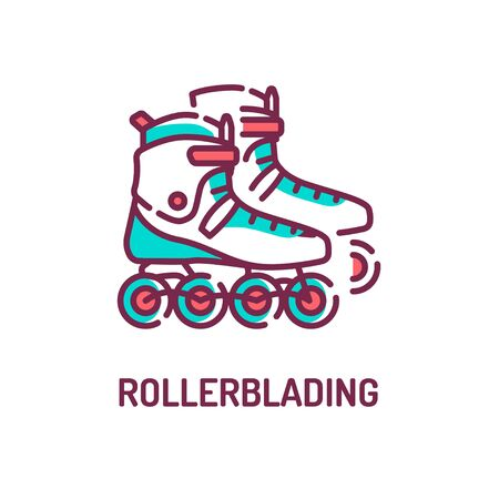 Rollerblading color line icon on white background. Riding and stunts on roller skates. Participation in competitions. Pictogram for web page, mobile app, promo. UI UX GUI design element. Editable stro