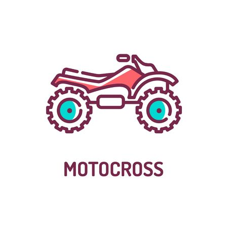 Motocross color line icon on white background. Extreme sport. Motorcycle race on the highway. Pictogram for web page, mobile app, promo. UI UX GUI design element. Editable stroke.