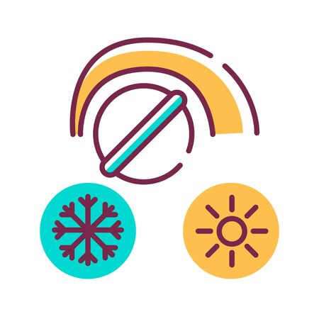 Switching heater color line icon. Option to increase or decrease th temperature or power of device. Pictogram for web page, mobile app, promo. UI UX GUI design element. Editable stroke.