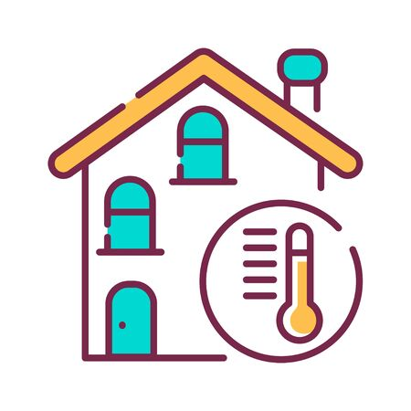 The house is heated color line icon on white background. The temperature in the house. Pictogram for web page, mobile app, promo. UI UX GUI design element. Editable stroke.