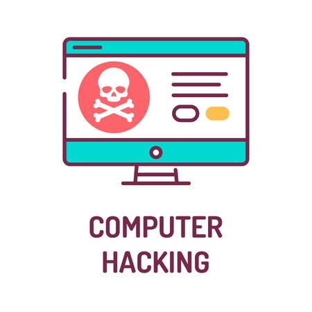 Computer hacking color line icon. Attempt to exploit a computer system or a private network inside a computer. Pictogram for web page, mobile app, promo. UI UX GUI design element. Editable stroke. Vector Illustratie