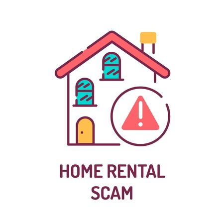 Home rental scam color line icon. Illegal action. Using high-pressure tactics to get victims to pay the rent in advance.Pictogram for web page, mobile app, promo. UI UX GUI design element.