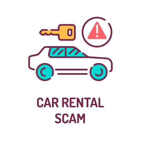 Car rental scam color line icon. Tricking victims into paying a deposit or the full rental fee before receiving the car. Pictogram for web page, mobile app, promo. UI UX GUI design element.
