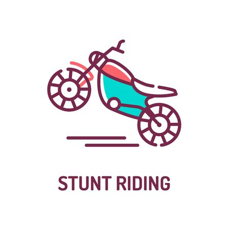 Stunt riding a motorcycle color line icon on white background. Extreme. Motorcycle tricks. Pictogram for web page, mobile app, promo. UI UX GUI design element. Editable stroke