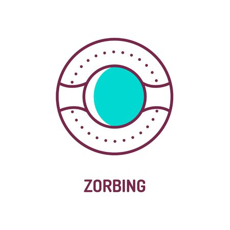 Zorbing color line icon on white background. Skating in a zorb. Pictogram for web page, mobile app, promo. UI UX GUI design element. Editable stroke.