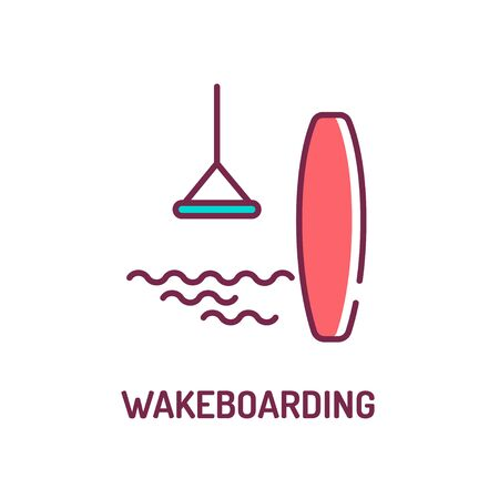 Wakeboarding color line icon. Extreme water sport. The rider, standing on a wakeboard, is towed behind a motorboat across. Pictogram for web page, mobile app, promo. UI UX GUI design element.