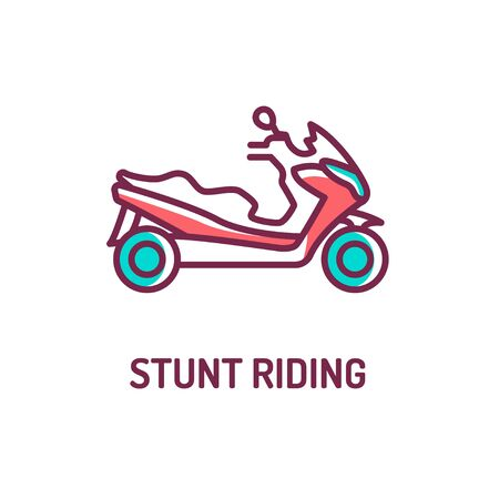 Stunt riding a scooter color line icon on white background. Extreme. Scooter tricks. Pictogram for web page, mobile app, promo. UI UX GUI design element. Editable stroke.