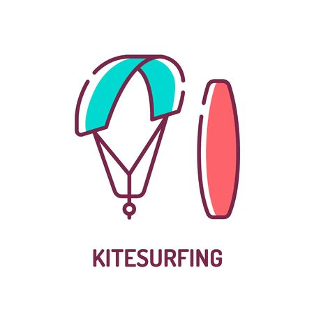 Kitesurfing color line icon. Extreme water sport. Pictogram for web page, mobile app, promo. UI UX GUI design element. Editable stroke.