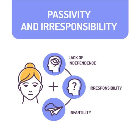 Passivity and irresponsibility color line icon. Condition of being inactive. Quality of not being trustworthy. Pictogram for web page, mobile app, promo. UI UX GUI design element. Editable stroke.  イラスト・ベクター素材