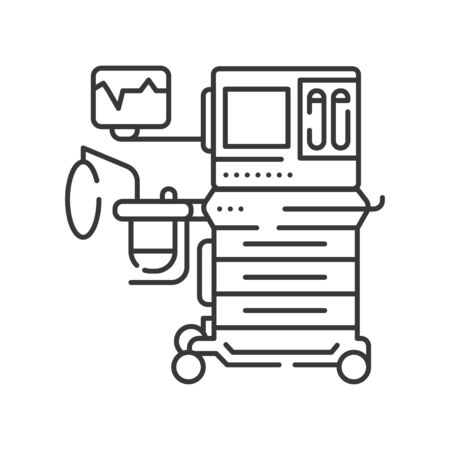 Anesthesia machine line black icon. Equipment for medical surgery concept. Sign for web page, mobile app. Vector isolated element. Editable stroke.