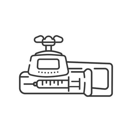 Icono negro de la línea de bomba de jeringa. Concepto de dispositivo de infusión. Terapia intensiva. Firmar para la página web, aplicación móvil. Elemento aislado del vector. Trazo editable.