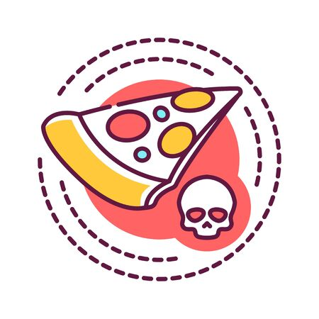 Junk food addiction color line icon. Physical or emotional dependence. Unhealthy lifestyle. Harmful nutrition. Pictogram for web page, mobile app, promo. UI UX GUI design element. Foto de archivo - 134931092