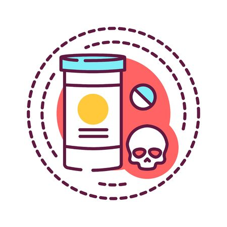 Addiction of narcotic drugs, psychotropic substances color line icon. Physical or emotional dependence on using substances. Pictogram for web page, mobile app, promo. UI UX GUI design element. Editable stroke.