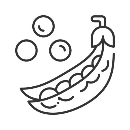 Pods of green peas and scattered pea beans black line icon. Natural vegetable. Healthy, organic food. Cooking ingredient. Pictogram for web page, mobile app, promo. UI UX GUI design element.