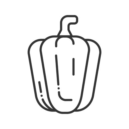 Bulgarian pepper black line icon. Natural vegetable. Healthy, organic food. Cooking ingredient. Pictogram for web page, mobile app, promo. UI UX GUI design element. Editable stroke.