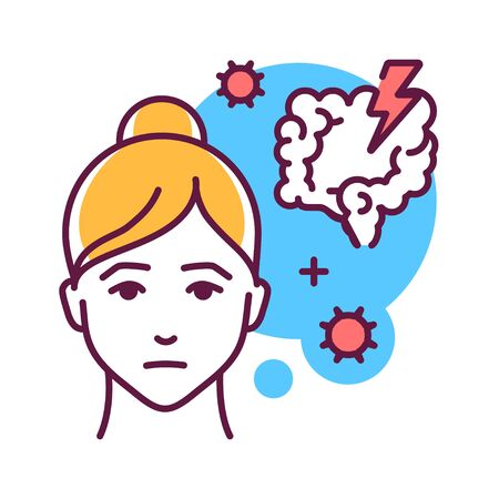 Intestinal flu color line icon. An intestinal infection marked by watery diarrhea, abdominal cramps, nausea or vomiting, and sometimes fever. Pictogram for web page, mobile app, promo. UI UX GUI design element. Editable stroke.