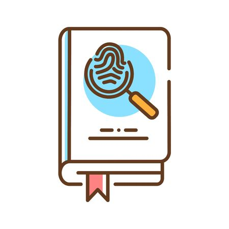 Detective book color line icon. A sub-genre of crime and mystery fiction. An investigator investigates a crime, often murder. Pictogram for web page, mobile app, promo. UI UX GUI design element. Editable stroke.