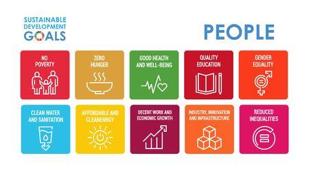 Signe de responsabilité sociale d'entreprise. Illustration vectorielle des objectifs de développement durable. Signes ODD. Pictogrammes pour publicité, web, application mobile, promo. Éléments de conception UI UX.