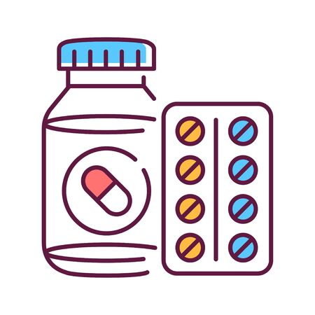 Pill bottle and blister color icon. Pharmaceutical product. Health care symbol. Pictogram for web page, mobile app. UI UX GUI design element. Editable stroke.