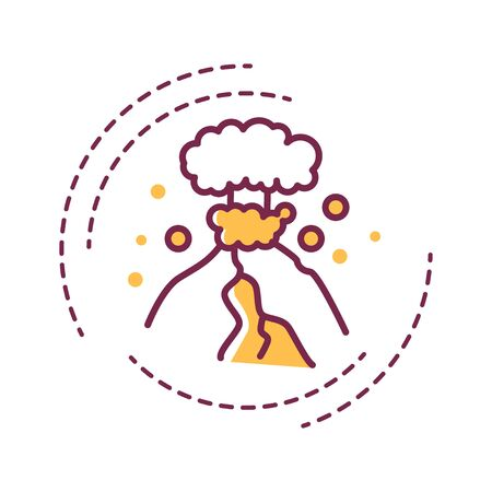 Earthquake color line icon on white background. Seismic activity. Tremors. Pictogram for web page, mobile app, promo. UI UX GUI design element. Editable stroke