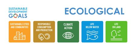 Corporate social responsibility color icon set. Sustainable Development Goals vector illustration. SDG signs. Pictograms for ad, web, mobile app, promo. UI UX design elements. Illustration