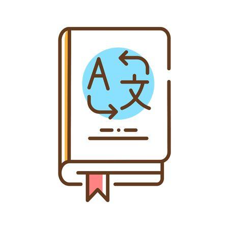 Vocabulary color line icon. Translate words from different languages. Pictogram for web page, mobile app, promo. UI UX GUI design element. Editable stroke. Ilustração