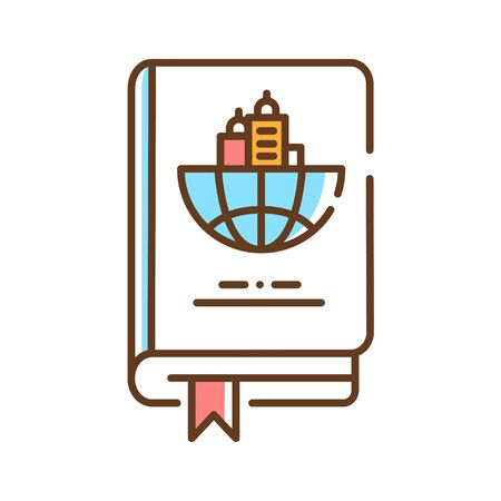 Travel book color line icon. Travel guide. Information about countries and their sightseeing. Pictogram for web page, mobile app, promo. UI UX GUI design element. Editable stroke.