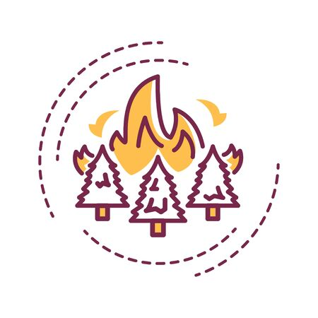 Forest fires color line icon. Start from natural causes such as lightning, high atmospheric temperatures and dryness. Pictogram for web page, mobile app, promo. UI UX GUI design element.