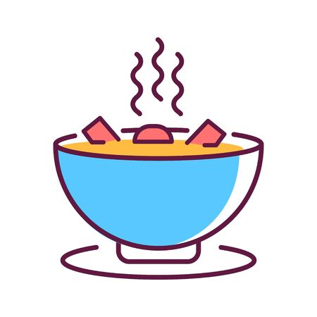 Soup plate with steam, hot lunch color line icon. A hot dish that helps fight the illness. Pictogram for web page, mobile app, promo. UI UX GUI design element. Editable stroke.