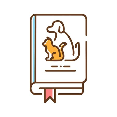 Pets book color line icon. Animal guide book. Learning how to behave with pets at home. Training pets. Pictogram for web page, mobile app, promo. UI UX GUI design element. Editable stroke.