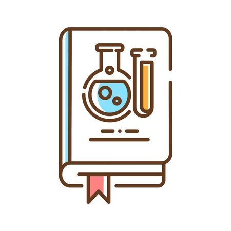 Science book color line icon. A work of nonfiction, usually written by a scientist, researcher, or professor. Explain difficult science topics to people. Pictogram for web page, mobile app, promo. UI UX GUI design element. Editable stroke. Çizim