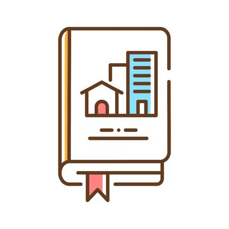 Real estate book color line icon. Lerning about buildings or housing in general. Property made up of land and the buildings on it. Pictogram for web page, mobile app, promo. UI UX GUI design element. Editable stroke. Ilustração