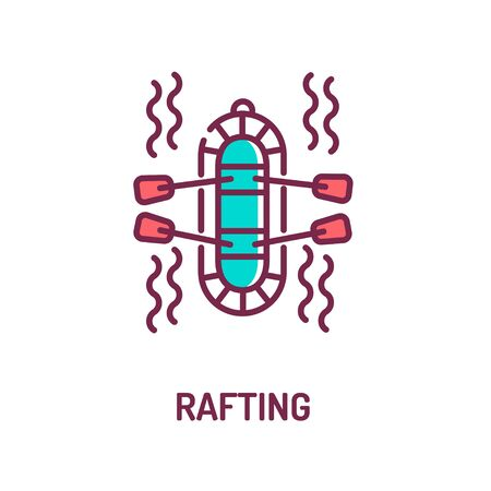 Rafting color line icon on white background. Extreme. Swimming on the rapids in the river. Pictogram for web page, mobile app, promo. UI UX GUI design element. Editable stroke.