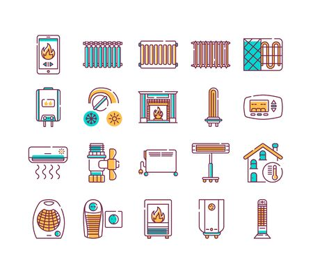 Heating devices color line icons set. A central heating system provides warmth to the whole building. Pictogram for web page, mobile app, promo. UI UX GUI design element. Editable stroke.