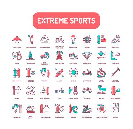 Extreme sport color line icons set. Activities perceived as involving a high degree of risk. Pictogram for web page, mobile app, promo. UI UX GUI design element. Editable stroke Ilustracja
