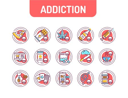 Addiction color line icons set. Physical or emotional dependence on something. Pictogram for web page, mobile app, promo. UI UX GUI design element.