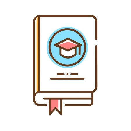 Learning book color line icon. Theoretical or academic knowledge. Used for studying, self development and education.Pictogram for web page, mobile app, promo. UI UX GUI design element. Editable stroke. Zdjęcie Seryjne