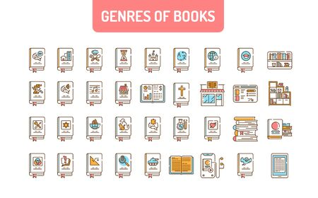 Genres of books color line icons set. Collection of all genres in literature. Pictogram for web page, mobile app, promo. UI UX GUI design element.