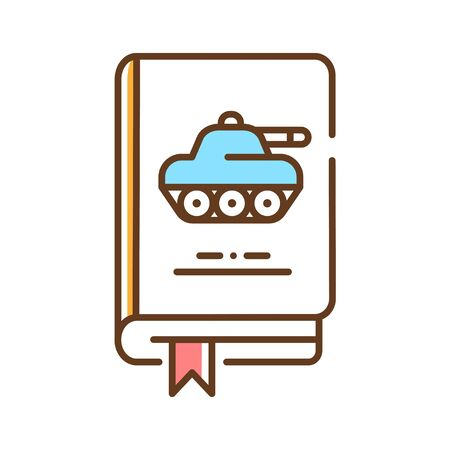 Military book color line icon. Basic knowledge about army, highly organised force, war and soldiers. Pictogram for web page, mobile app, promo. UI UX GUI design element. Ilustracja