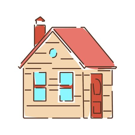 House color line icon. A building that functions as a home. Pictogram for web page, mobile app, promo. UI UX GUI design element.