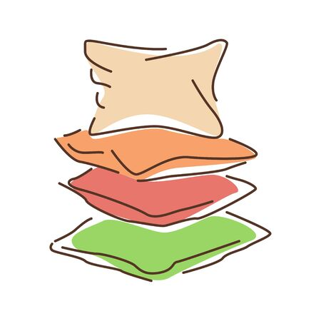 Pillows color line icon. Support of the body at rest for comfort, therapy, or decoration. Pictogram for web page, mobile app, promo. UI UX GUI design element.
