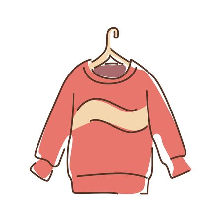 Pullover color line icon. A piece of woollen clothing that covers the upper part of body and arms. Pictogram for web page, mobile app, promo. UI UX GUI design element.