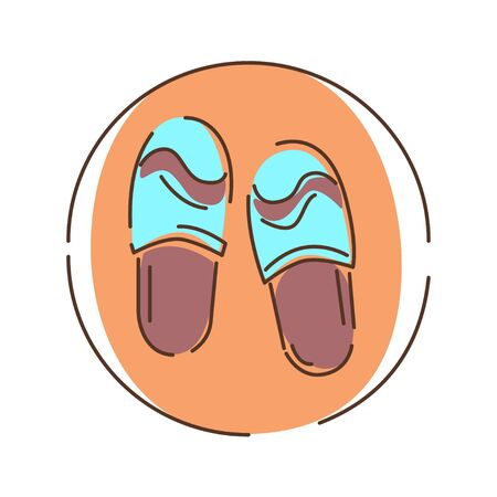 Slippers color line icon. Light footwear that are easy to put on and off and are intended to be worn indoors, particularly at home. Pictogram for web page, mobile app, promo. UI UX GUI design element. Editable stroke.