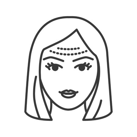 Forehead lift black line icon. Cosmetic surgery. Skin care. Facial rejuvenation. Blond woman concept. Sign for web page, mobile app, banner, social media.