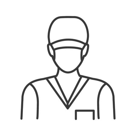Surgeon in mask and uniform line black icon. Plastic and cosmetic surgery. Subject matter expert. Pictogram for web, mobile app, promo. UI UX design element.