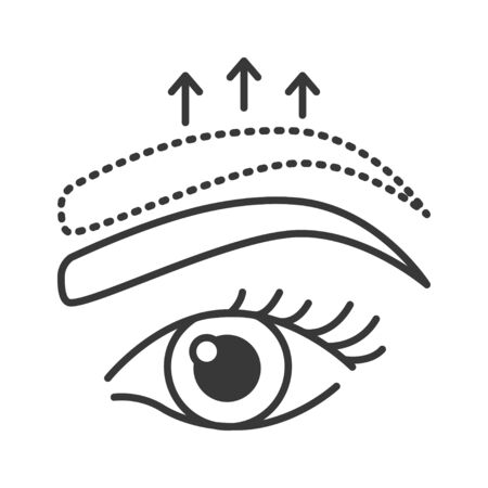Brow lift black line icon. Cosmetic surgery. Skin care. Facial rejuvenation. Sign for web page, mobile app, banner, social media.