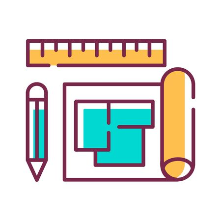 House plan color line icon. A set of construction or working drawings. Define all the specifications of a house. Pictogram for web page, mobile app, promo. UI UX GUI design element. Editable stroke Illustration