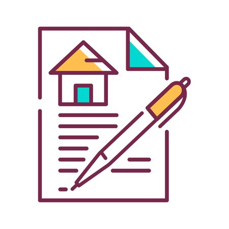 Contract color line icon. A legally binding agreement. Between parties for the purchase and sale. Pictogram for web page, mobile app, promo. UI UX GUI design element. Editable stroke