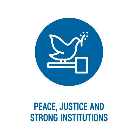 Peace, justice and strong institutions color icon. Corporate social responsibility. Sustainable Development Goals. SDG sign. Pictogram for ad, web, mobile app. UI/UX design element. Editable stroke.